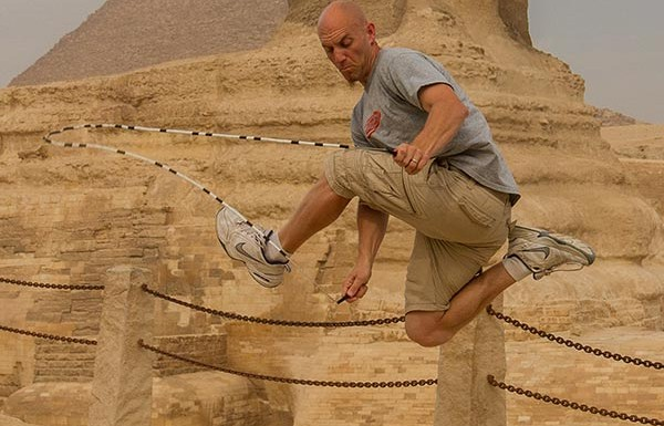 Jump Rope in Egypt in front of the Sphinx